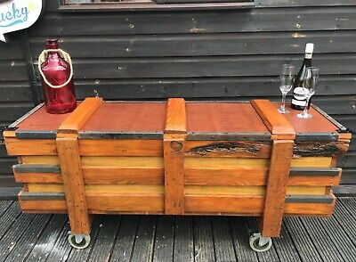 Large Reclaimed Wooden Storage Chest Trunk Industrial Coffee Table Cabinet Metal