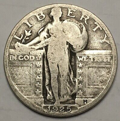 1925 USA Standing Liberty Quarter Dollar 90% Silver Coin US United States 25