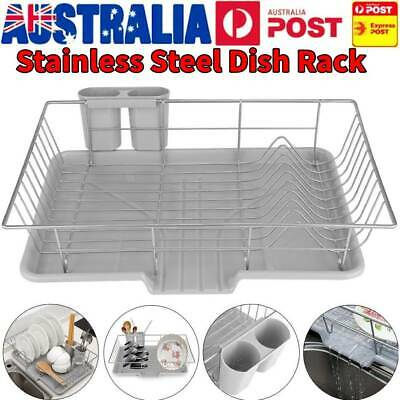 New Dish Rack Drainer Drying Tray Cutlery Holder Utensil Caddy Stainless Steel