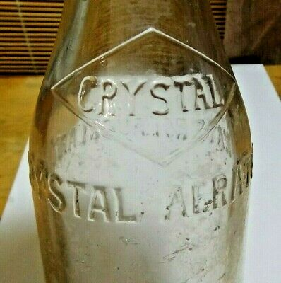 Vintage Crystal Aerated Waters Ltd Auckland Embossed Glass Bottle
