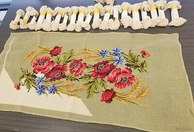 """Vintage Paragon Needlecraft Floral Pansy Garland Tapestry Needlepoint 41""""x21.5"""""""
