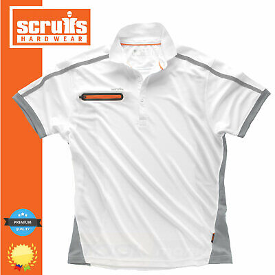 Scruffs Polo Shirt Pro Active - Zip Pocket - 2 Tone - White and Grey - * SALE *