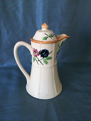 Vintage MCM Cocoa Coffee Pot with Lid ~ Flowers on Basket Weave ~ Japan