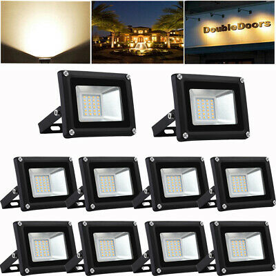 10X Projecteur LED 20W Floodlight Extérieur Spot Light Eclairage blanc chaud