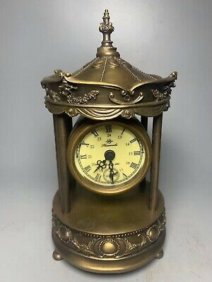 Chinese Old copper handmade pagoda Mechanical clock table Home decoration