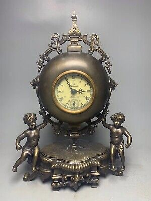 Chinese Old copper handmade Boy pagoda Mechanical clock table Home decoration