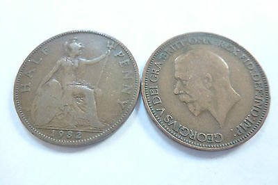 King George V Half Penny coins - choose your year -1912 to 1936 (free post)