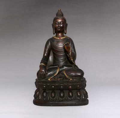 Large Fine Old Antique Chinese Bronze Buddha Statue-28cm
