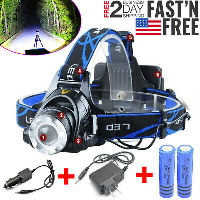 900000LM Rechargeable Headlight LED Tactical Headlamp Zoom Torch Lamp Flashlight