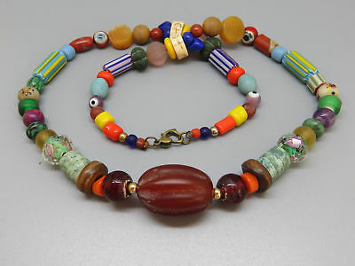 (kB444) Tibet tribal Necklace  Old mixed trade beads (glass, stone, shell)