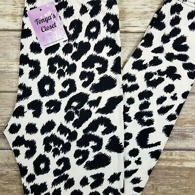 Black White Cheetah Leopard Leggings Animal Print Buttery Soft ONE SIZE OS
