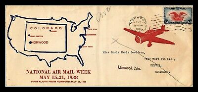 Dr Jim Stamps Us Norwood Colorado National Air Mail Week Legal Size Cover