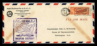 Dr Jim Stamps Us Los Angeles National Air Mail Week Legal Size Cover 1938