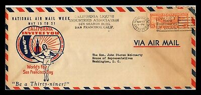 Dr Jim Stamps Us San Francisco Exposition Air Mail Week Legal Size Cover 1938