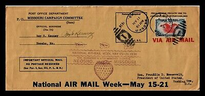 Dr Jim Stamps Us Neosho Missouri Post Office Air Mail Legal Size Cover 1938