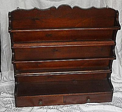 Quality Antique French Double Shelf Plate Rack 2 Drawers Wood Visually Beautiful