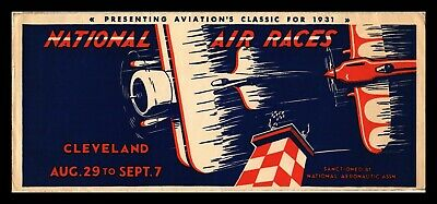Dr Jim Stamps Us National Air Races Event Legal Size Cover Cleveland 1937