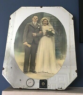 Vintage Art Deco Mirrored Wall Picture Photo Frame 1930's Black & White Wedding