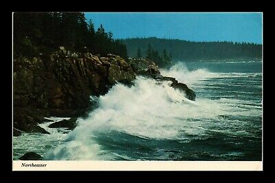 Dr Jim Stamps Us Northeaster Ocean Waves Rocks Acadia National Park Postcard