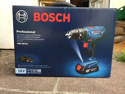 Bosch Professional GSB 18V-21 Cordless Combi Drill with two 18 V 1.5 Ah