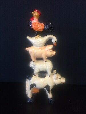 """Vintage 9.5"""" CAST IRON STACKED FARM ANIMALS STATUE Two-Sided ~ VERY NICE"""