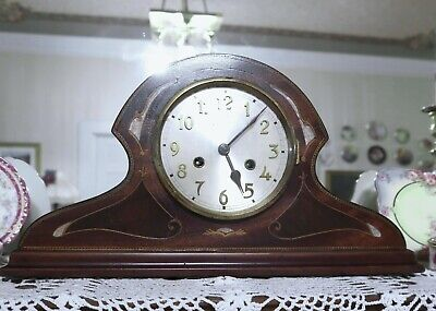 Antique Mantle Clock,  Working, Nice Marquetry.
