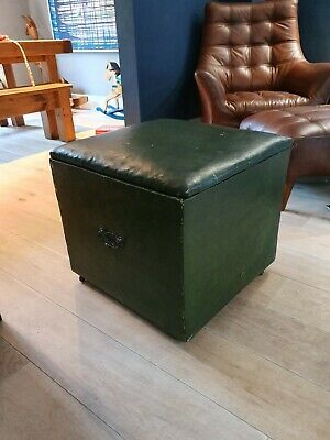 Antique Vintage Green Leather Footstool Ottoman Storage Bench Seat Country House
