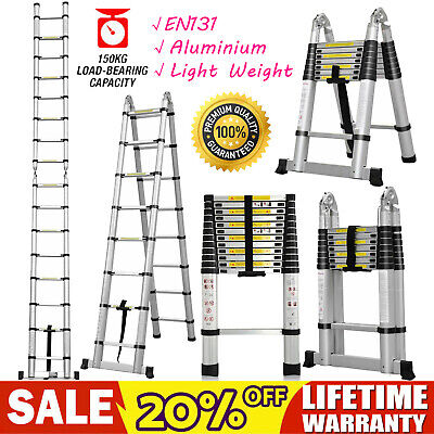 1.9M-5M Portable Heavy Duty Multi-Purpose Aluminium Telescopic Folding Ladder UK