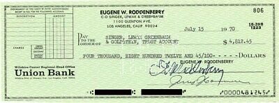 Gene Roddenberry - Autographed Signed Check 07/15/1970