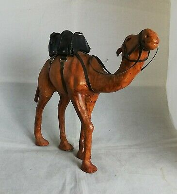 Beautiful Wooden Camel with leather mount Ornament
