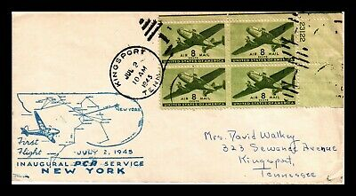 Dr Jim Stamps Us Kingsport Tennessee First Flight Air Mail Cover 1945