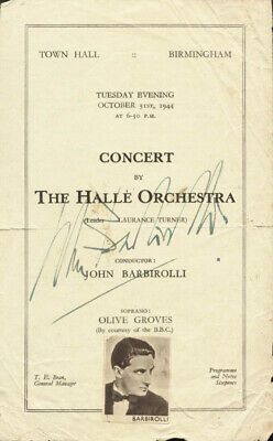 Sir John Barbirolli - Program Cover Signed Circa 1944