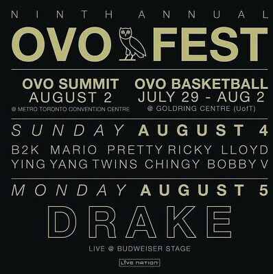 Drake 9Th Annual Ovo Fest August 4Th, 2019 Section 305 Row K 20 (1 Ticket)
