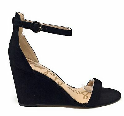 """85a54901866 SAM EDELMAN """"SHIRLEY"""" Leather Black Suede Wedge Sandals Buckle Ankle ..."""