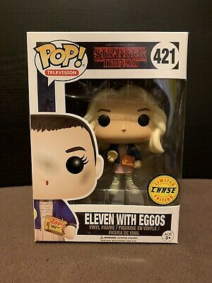Funko Pop! Eleven W/ Eggos #421 Stranger Things - Chase - W/ Protector Case- New