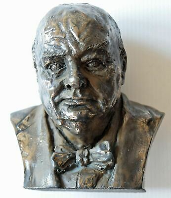 NEW - Winston Churchill Bust - Cold Cast Bronze - Hand Crafted - 13cm High