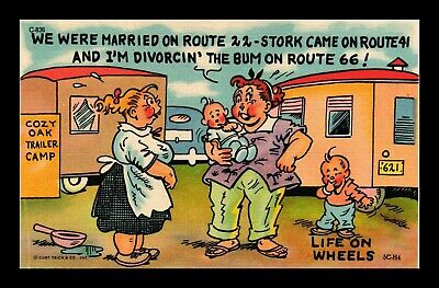 Dr Jim Stamps Us Life On Wheels Route 66 Trailer Camp Comic Linen Postcard