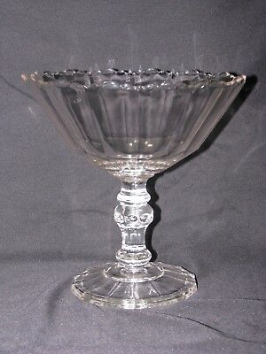 Antique EAPG Clear Glass Fluted Compote Pedestal Footed Bowl Scalloped Edge