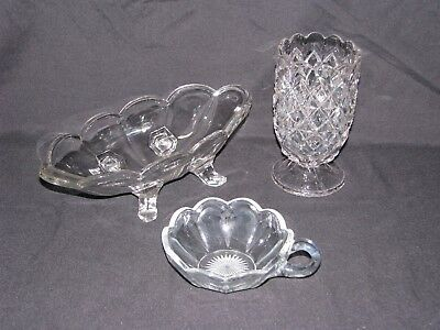 Vintage Clear Glass Celery Vase Oblong Footed Dish Heisey Nappy with Finger Loop
