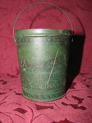 """Antique Victorian Schepps """"Cocoanut"""" Tin with Handle No Lid Images of Monkeys"""