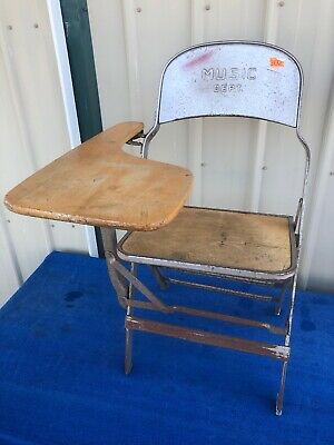 Vintage CLARIN MFG CO MUSIC DEPT. Folding Metal Wood Chair w/ Foldout Desk