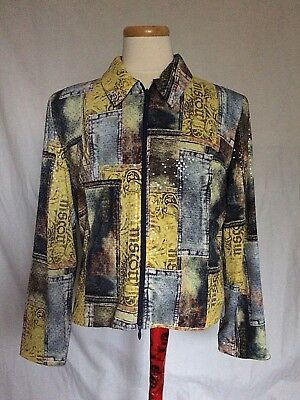Joseph Ribkoff Womens Jacket Sz 18 Patchwork Clear Sequined Zip Up Faux Denim