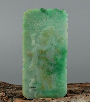 Chinese Exquisite Hand-carved the ancients Carving jadeite jade Pendant