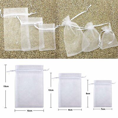 3 Size White Organza Bags Wedding Favours Pouches Net Jewellery Candy Gift Bag