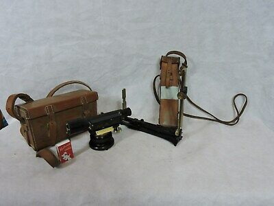 Antique Surveyors Theodolite and Alidade Leather Case Harrods 1918 Watts & Son