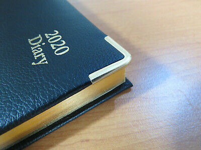 Diary 2020 A5 Day To Page Executive Leather look Black with Gold Trim & Edges