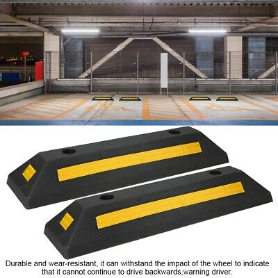 """A Pair of Garage Car Parking Curb Wheel Stopper Driveway Rubber Guide Block 22"""""""