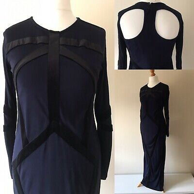 Topshop Meadham Kirchhoff Dress Long Maxi Navy Black Gothic Prom Ball Gown UK 14