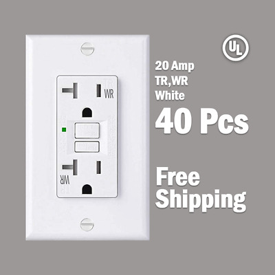 40 Pcs-20 AMP GFCI White Receptacle Outlet -TR & WR SELF TEST 2015 UL