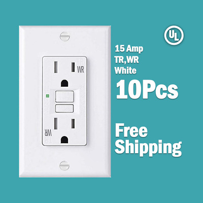 10 Pk-15 AMP GFCI White Receptacle Outlet -TR & WR SELF TEST White